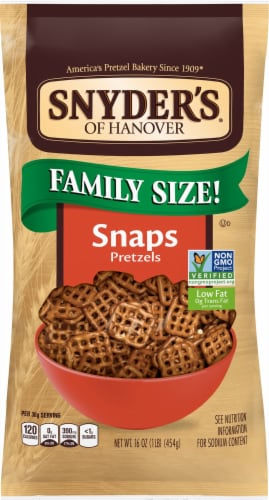 Snyder's of Hanover Snaps Pretzels Family Size Perspective: front