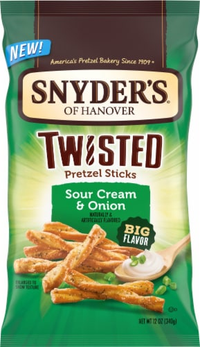 Snyder's of Hanover Twisted Extreme Sour Cream & Onion Pretzel Sticks Perspective: front
