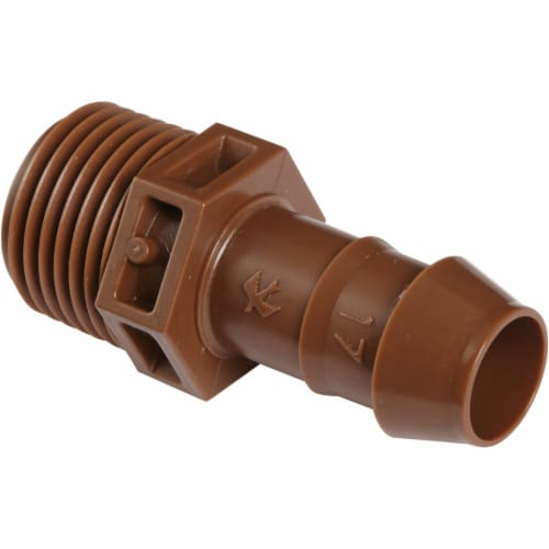 Rain Bird 1/2 In. Male Pipe Thread x 1/2 In. Barb Sprinkler-To-Drip-Adapter Perspective: front