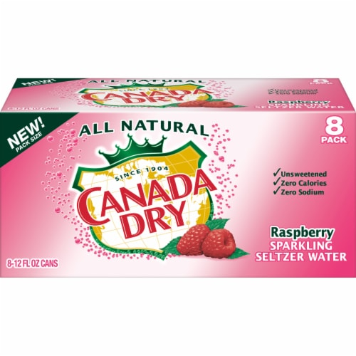 Canada Dry Raspberry Sparkling Seltzer Water Perspective: front