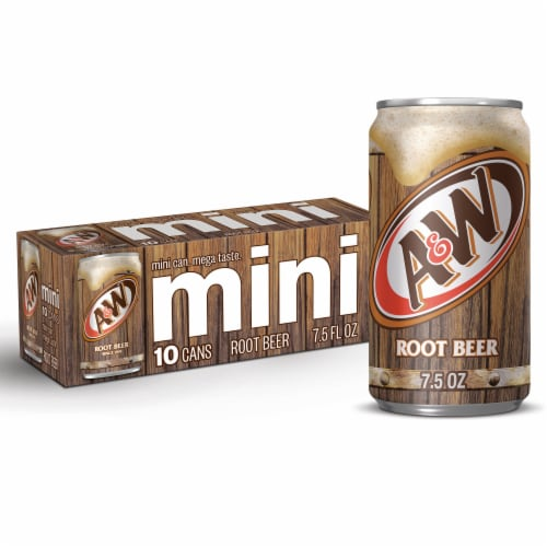 A&W Mini Root Beer Soda Perspective: front