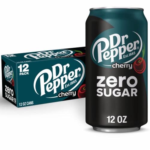 Dr Pepper Zero Sugar Cherry Soda Perspective: front