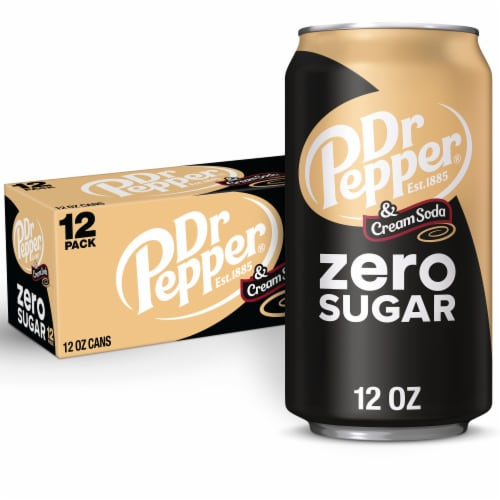 Dr Pepper Zero Sugar Cream Soda Perspective: front