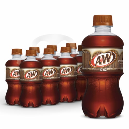 A&W Root Beer Soda 8 Bottles Perspective: front