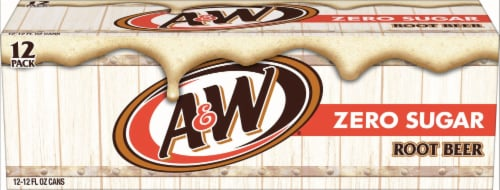 A&W Zero Sugar Root Beer Soda Perspective: front