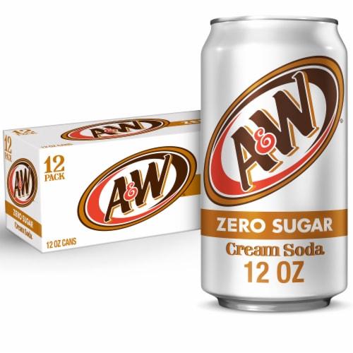A&W Cream Zero Sugar Soda Perspective: front