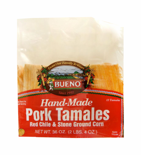 Bueno Hand-Made Red Chile & Stone Ground Corn Pork Tamales 12 Count Perspective: front