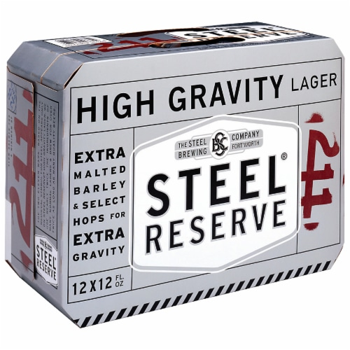 Steel Reserve High Gravity Lager Beer Perspective: front