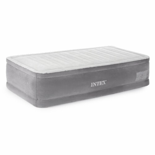 Intex 64411E Comfort Dura-Beam Elevated Air Mattress with Built-In Pump, Twin Perspective: front