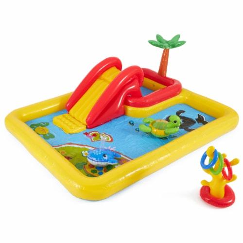 Intex Inflatable Ocean Play Center Kids Backyard Kiddie Pool & Games Perspective: front