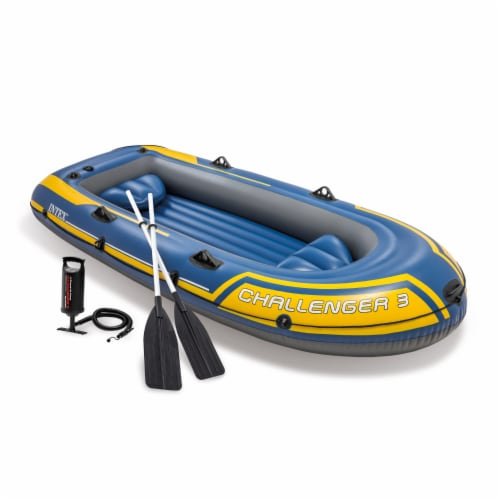 Intex 68370EP Challenger 3 Inflatable Raft Boat Set With Pump And Oars, Blue Perspective: front