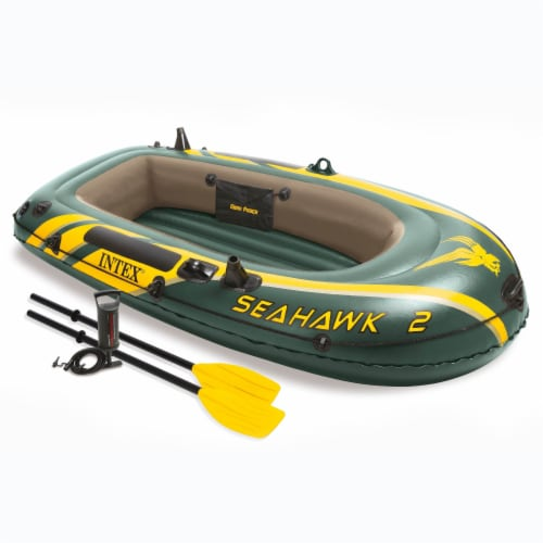 Intex Seahawk 2 Inflatable 2 Person Floating Boat Raft Set with Oars & Air Pump Perspective: front