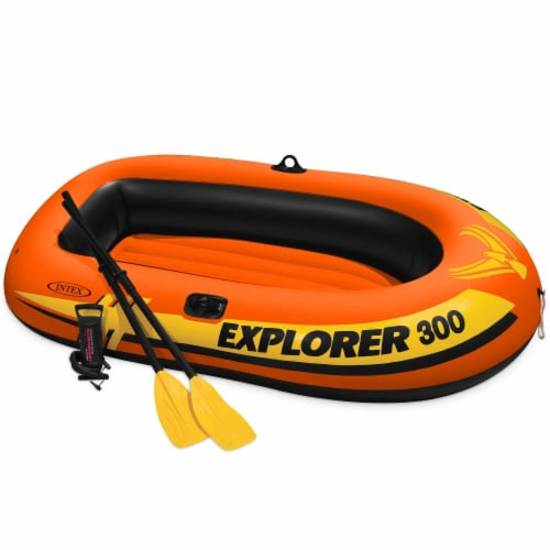 Intex Explorer 300 Compact Inflatable Fishing 3 Person Raft Boat w/ Pump & Oars Perspective: front