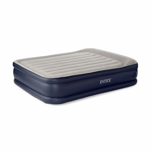 Intex Deluxe Pillow Rest Raised Blow Up Air Bed Mattress w/ Built In Pump, Queen Perspective: front