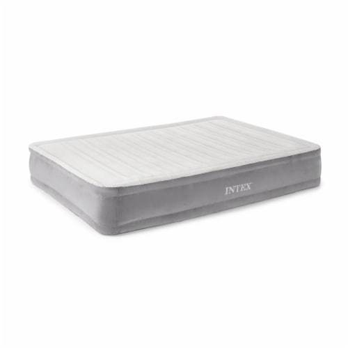 Intex Dura Beam Plus Series Mid Rise Airbed Mattress with Built In Pump, Queen Perspective: front