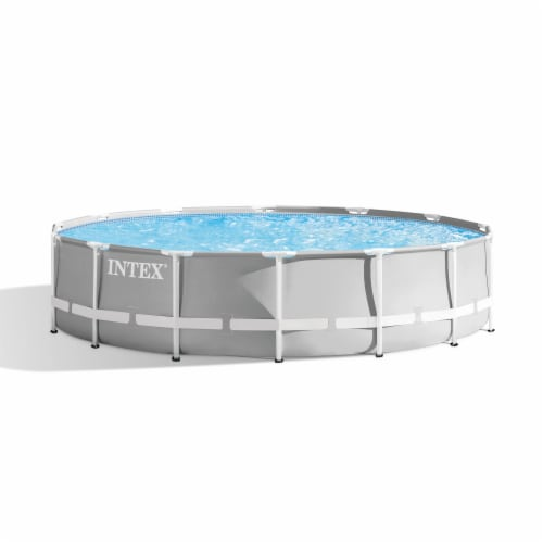 Intex 26719EH 14ft x 42in Prism Metal Frame Above Ground Swimming Pool with Pump Perspective: front