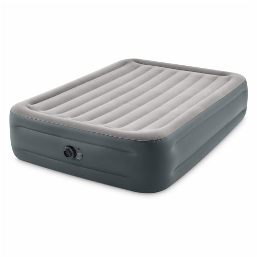 Intex Dura Beam Essential Rest Blow Up Queen Mattress Air Bed with Built In Pump Perspective: front