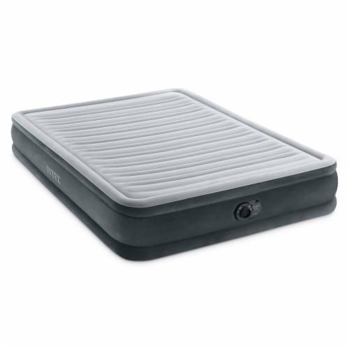 Intex Comfort Deluxe Dura-Beam Plush Air Mattress Bed with Built-In Pump, Queen Perspective: front