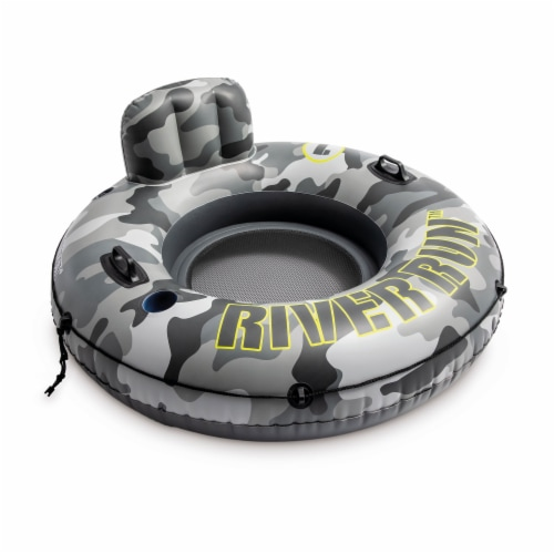 Intex 56835EP River Run I Camo Inflatable Floating Tube Raft with Cup Holders Perspective: front