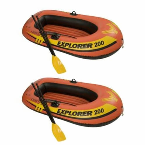 Intex Explorer 200 Inflatable 2 Person River Boat Raft Set w/ Oars & Pump (Pair) Perspective: front
