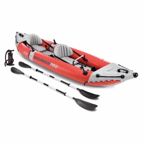 Intex Excursion Pro Inflatable 2 Person Vinyl Kayak with 2 Oars and Pump, Red Perspective: front