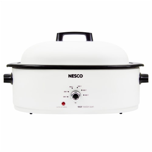 Nesco Porcelain Roaster with Cooking Rack - White Perspective: front
