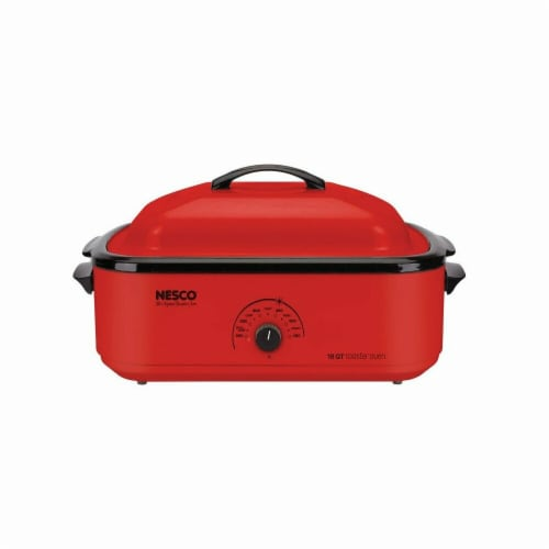 Nesco 6269807 Porcelain Roaster Oven - Chrome Red Perspective: front