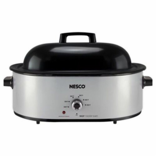 Nesco Porcelain Roaster - Silver Perspective: front