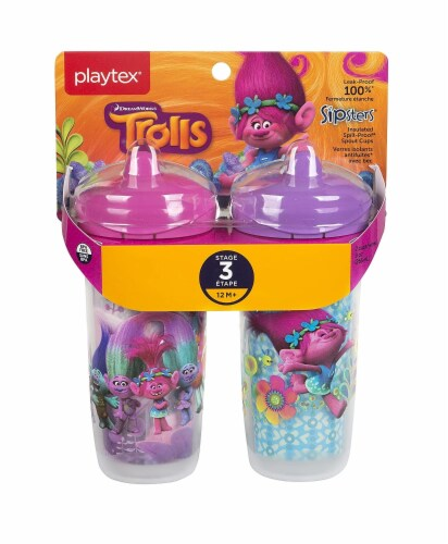 Trolls Sipsters Insulated Spill Proof Spout Cups, Stage 3, 12m+ 9oz, 2 Cups Pack of 1 Perspective: front