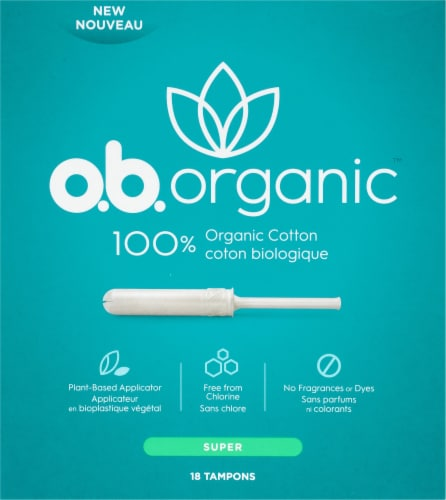 o.b. Organic Cotton Super Tampons 18 Count Perspective: front