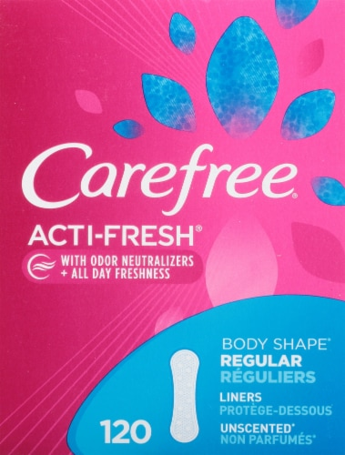 Carefree Body Shape Regular Unscented Pantiliners Perspective: front
