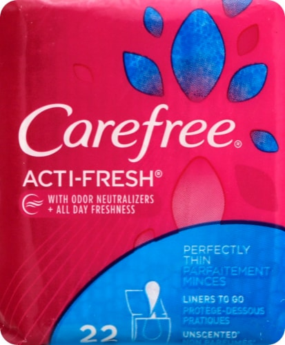 Carefree Body Shape Thin to Go Unscented Pantiliners 22 Count Perspective: front