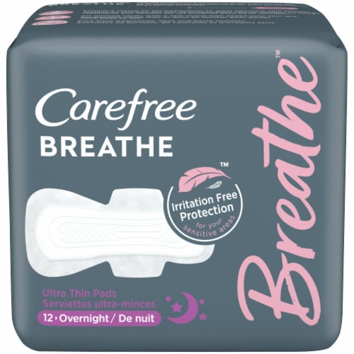 Carefree Breathe Overnight Ultra Thin Pads Perspective: front