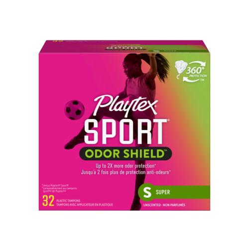Playtex Sport Odor Shield Unscented Super Tampons Perspective: front
