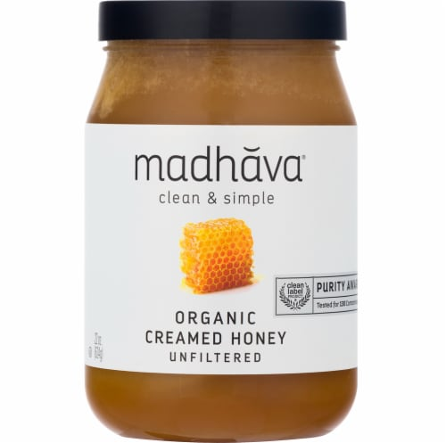 Madhava Organic Unfiltered Creamed Honey Perspective: front
