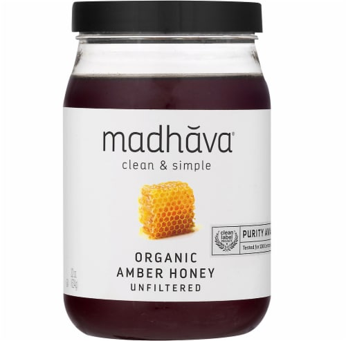 Madhava Organic Pure & Raw Honey Perspective: front