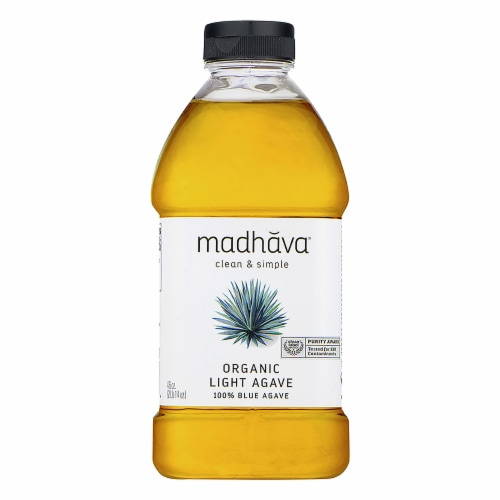 Madhava Organic Golden Light Blue Agave Nectar Perspective: front