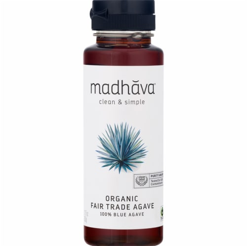 Madhava Organic Fair Trade Raw Blue Agave Nectar Perspective: front