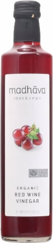 Madhava Organic Red Wine Vinegar Perspective: front
