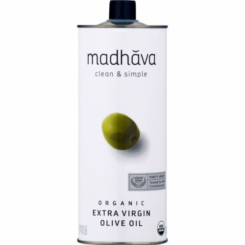 Madhava Organic Extra Virgin Olive Oil Perspective: front