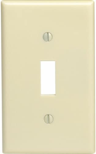 Leviton Ivory 1 gang Thermoset Plastic Toggle Wall Plate 10 pk - Case Of: 1; Each Pack Qty: Perspective: front