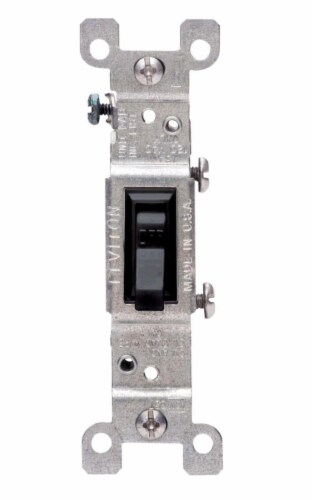 Leviton 15 amps Toggle Switch Black 1 pk - Case Of: 10; Each Pack Qty: 1 Perspective: front