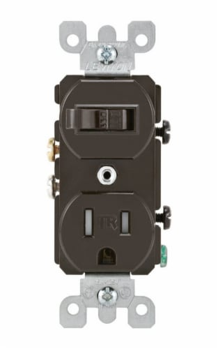 Leviton Brown Combination Switch/Outlet Perspective: front
