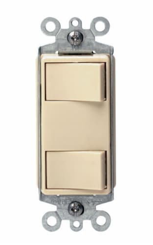 Leviton Decora 15 amps Rocker Switch Ivory 1 pk - Case Of: 1; Each Pack Qty: 1; Perspective: front