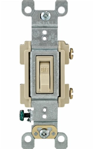 Leviton 15 amps Single Pole Toggle AC Quiet Switch Ivory 1 pk - Case Of: 1; Each Pack Qty: 1; Perspective: front