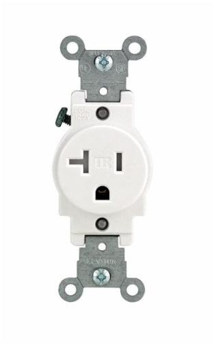 Leviton 20 amps 125 volt Single White Outlet 5-20R 1 pk - Case Of: 1; Each Pack Qty: 1; Perspective: front