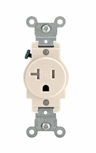 Leviton 20 amps 125 volt Single Light Almond Outlet 5-20R 1 pk - Case Of: 1; Each Pack Qty: Perspective: front