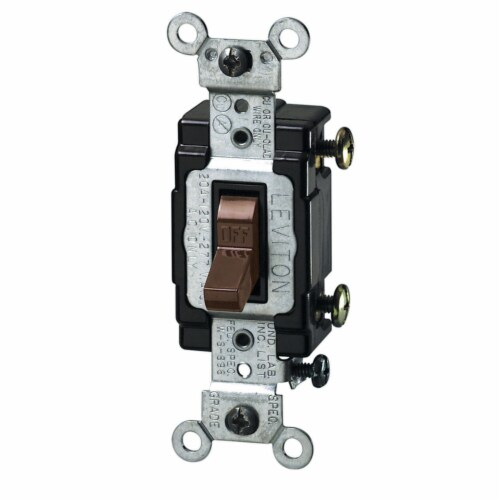 Leviton 20 amps Single Pole Toggle AC Quiet Switch Brown 1 pk - Case Of: 1; Each Pack Qty: 1; Perspective: front