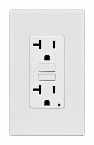 Leviton 20 amps 125 volt White GFCI Outlet 5-20R 1 pk - Case Of: 1; Each Pack Qty: 1; Perspective: front