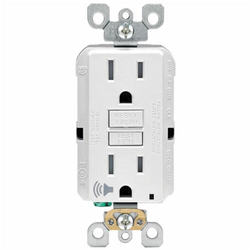 Leviton 15 amps 125 volt White Audible Outlet 5-15R - Case Of: 1; Each Pack Qty: 1; Perspective: front